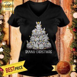 Bunny Rabbit Christmas Tree V-neck