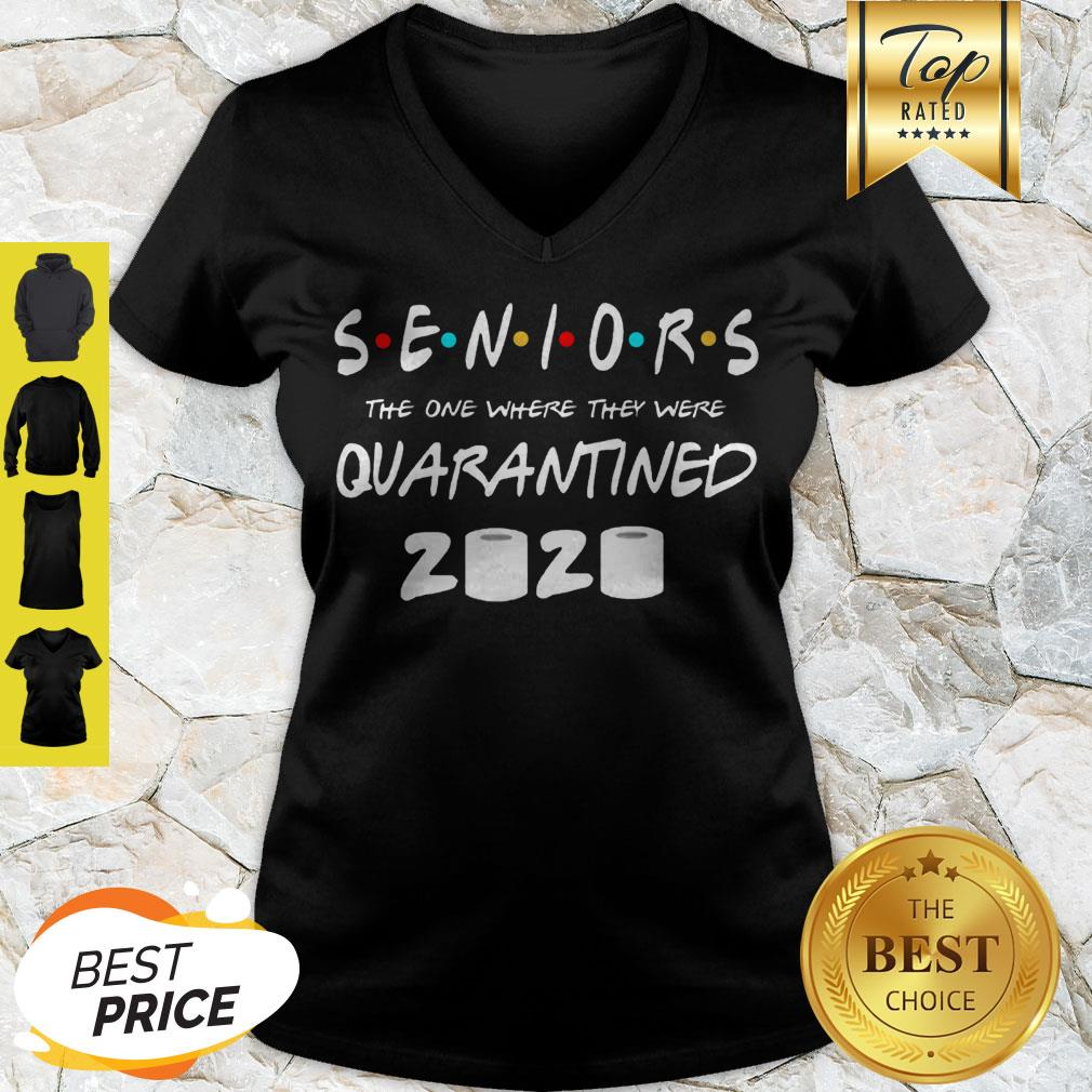 Seniors 2020 Quarantined Graduation Class Funny Quarantine 2020 V-neck