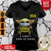 Top Baby Yoda Mask Dollar General I Can't Stay At Home Covid-19 V-neck