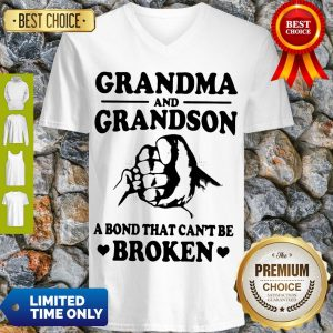 Grandma And Grandson A Bond That Can't Be Broken White Version V-neck