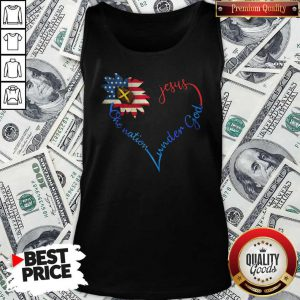 Independence Day Heart Sunflower America One Nation Under God Jesus Tank Top