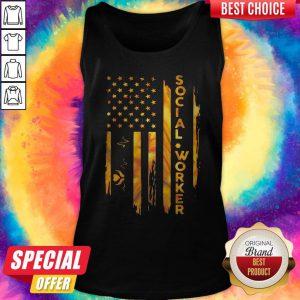 Stunning I Love Social Worker American Flag Tank Top