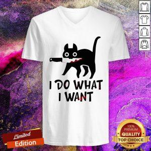 Black Cat I Do What I Want V-neck