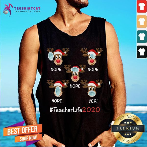 Good Christmas Teacher Life 2020 Reindeer Wearing Mask Tank Top- Design By Teeshirtcat.com