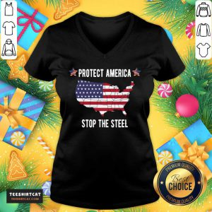 Protect America Stop The Steal Voter Fraud Trump 2020 V Neck- Design By Teeshirtcat.com