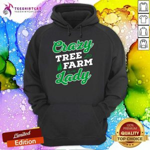 Crazy Tree Farm Lady Christmas Tree Merry Xmas Hoodie- Design By Teeshirtcat.com