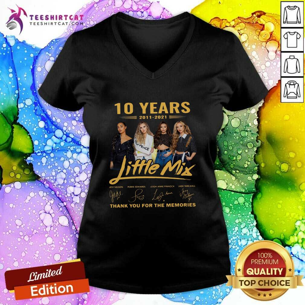 10 Years Little Mix Thank You For The Memories Signatures V Neck- Design By Teeshirtcat.com